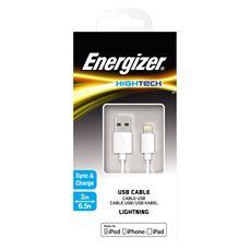 Снимка от USB кабел за iPhone 2м., бял - ENERGIZER